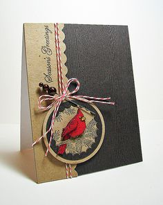 Christmas card with cardinal. Could use design for many occasions