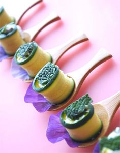 Courgette, goats cheese & fresh mint spirals #food #catering