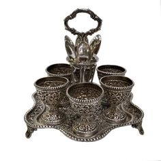 Antique Indian Silver Egg Cruet, For Six Persons, Kutch (Cutch) – Circa 1900 - Joseph Cohen Antiques Central Point, Leaf Border, Grand Homes, Egg Cups, Silver Work, Acanthus, Designs To Draw, Joseph, Decorative Bowls
