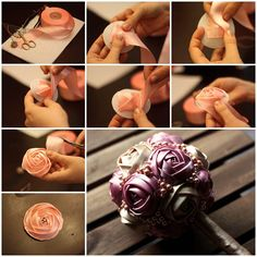 Fast and easy to make satin ribbon roses diy tutorials - Have you at any point needed to make one of those stunning ribbon roses you've seen all over Roses En Ruban Satin, Satin Ribbon Roses, Ribbon Bouquet, Ribbon Rosettes, Ribbon Art, Satin Flowers, Diy Ribbon, Fabric Ribbon, Ribbon Crafts