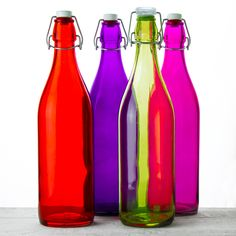 Colorful Swing-top Glass Water Bottles (33.75oz) - SERVEWARE - DINING & KITCHEN