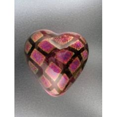 "Robert Held Art Glass - Paperweight, Heartbeat Round Square Cranberry - 2.5 X 2.5""  $62.50 #heart #dichroic"