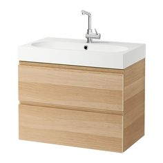 """IKEA - GODMORGON / BRÅVIKEN, Sink cabinet with 2 drawers, white stained oak effect, 31 1/2x19 1/4x26 3/4"""""""