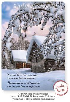 Upea joulukortti, jossa Asko Kuittisen tunnelmallinen valokuva. Railin Runokortti, johon on talletettu vanhan ajan talven lumoa. Railin runo vie sinut keskelle vanhan pihapiiriä. Railin Runokortti -sarjan joulukortti, jonka taustapuolella on Hyvää Joulua ja Onnellista Uutta Vuotta -toivotus. Tukevaa, suomalaista kartonkia. Mukavana yksityiskohtana pyöristetyt kulmat. Avainlippu-tuote. Kuvassa vanha pihapiiri talvilevolla Rautavaaran Tiilikassa. Runo: Raili Heikkilä, kuva: Asko Kuittinen Xmas, Christmas Tree, Holiday Decor, Outdoor, Teal Christmas Tree, Outdoors, Christmas, Navidad, Xmas Trees