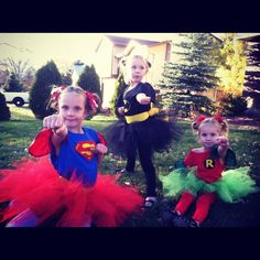 Super hero tutus...I made these super cute, super easy, no sew super hero costumes for my three girls.