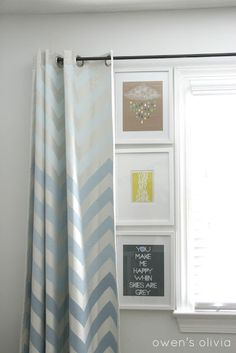 This would be great. maybe do a full wall of curtains. Grey Boys Bedroom Nursery with Ombre Chevron Curtains