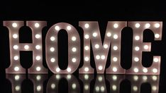 """Hand made 9""""metal pink light up letters HOME store shop home living  room bedroom table decor"""
