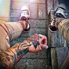 Men's style. Custom Converse All-Star Studded Sneakers. Tattoo Art. Model: Josh Mario John. Raddest Looks On The Internet http://www.raddestlooks.net