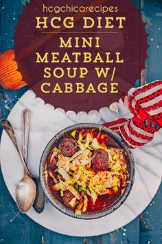 hCG Diet Beef recipe - 187 calories - Mini Meatball Soup w/ Cabbage - hcgc. Phase 2 Hcg Recipes, Hcg Diet Recipes, Diet Dinner Recipes, Healthy Recipes, Hcg Meals, Healthy Food, Beef Soup Recipes, Hcg Soup, Dieting Foods