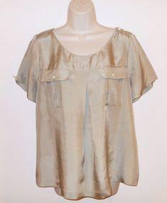 J CREW 100% Silk Top 12 L Taupe Blouse Large Beige Brown Short Sleeve Womens #JCREW #Blouse