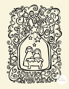 cute christmas coloring page printable. Resize & print for my child to color for project life card.