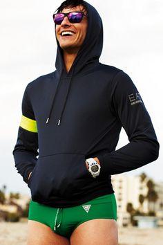 Emporio Armani's EA7 hoodie & Guess speedo.