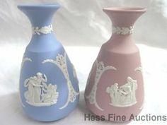 Vintage Wedgwood Pair Jasperware Pink Blue Chariot Greek Mythology Bud Vases