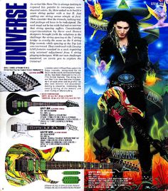 Ibanez catalog page of Steve Vai Universe 7-String guitars