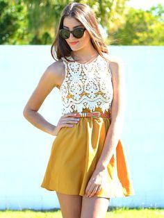 white lace and mustard dress