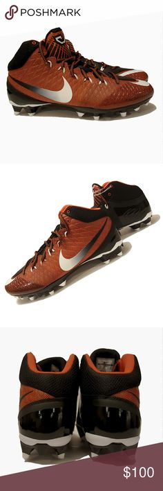 Nike CJ3 Pro TD Mid Football Cleats Orange Size 10 Nike CJ3 Pro TD Calvin Johnson football cleats Synthetic with durable lightweight upper and TPU outsole Wide hook-and-loop strap provides midfoot stability Mid-height collar hugs  ankle for coverage and support Color: Orange and black with white accents Size: US 10, UK 9, EUR 44, 28cm Condition: Brand new without tags/box, unused Nike Shoes Athletic Shoes