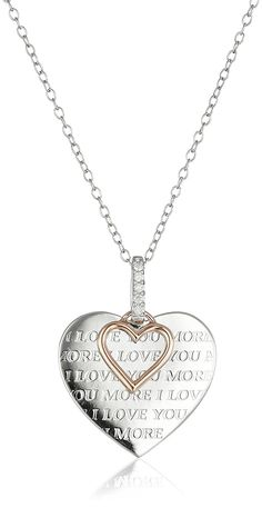Sterling Silver, 10k Rose Gold, and Diamond 'I Love You More' Pendant Necklace *** Check out this great product. (This is an Amazon Affiliate link and I receive a commission for the sales)