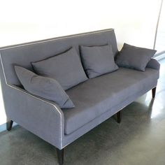 Sofa candidate no. 3: Hanjel, Prague model. Fabric with stud trim. Also available in beige.