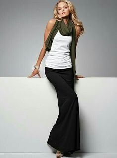 black skirt with casual white camisole.