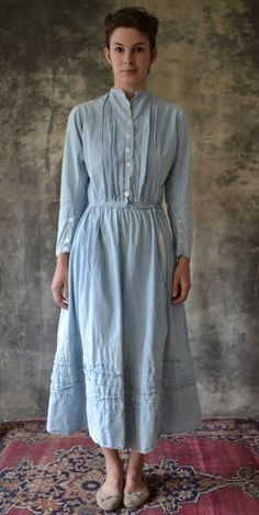Early 1900s Striped Country Shirt Dress ~ in heavy white and blue striped cotton   Petrune Vintage