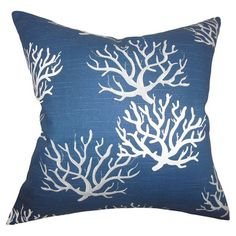 Add a pop of pattern to your sofa or favorite arm chair with this cotton pillow, showcasing a coral-inspired print.  Product: Pi...