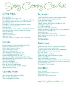 Spring cleaning list!