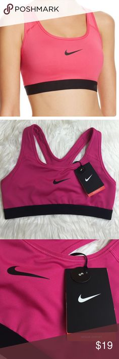 NWT Nike pro classic sport bra New with tags Nike Pro Classic Bra utilizes a compression fit, providing medium support for a variety of training activities. Internal straps create stabilizing tension, helping to minimize bounce during multidirectional movement. Black and pink colors no trades Nike Intimates & Sleepwear Bras