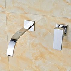 Senlesen Bathroom Wall Mounted Vessel Sink Basin Faucet Mixer Tap Brass Single Handle Chrome Waterfall Water Tap -- Awesome products selected by Anna Churchill