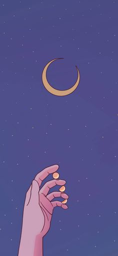 Moon, crescent, hand, purple, starry sky  Wallpapers for iPhone11, iPhone11 Pro, iPhone 11 Pro Max