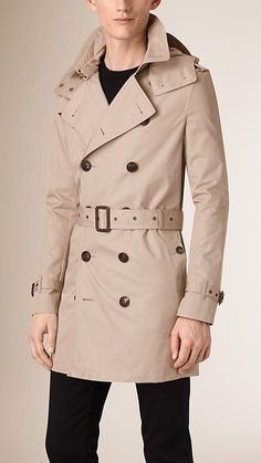 Taupe Cotton Trench Coat with Detachable Hood - Image 1