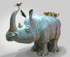 Rinoceronte muy bien logrado en papel mache