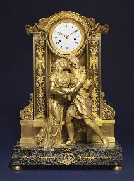 PARIS, AFTER THE DESIGN BY CLAUDE GALLE. CIRCA 1810. An Empire large ormolu patinated bronze and marmo verde antico striking eight day figural mantel clock