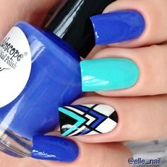 160 Blue Nail Art Ideas for 2018 White Glitter Nails, Pink Nails, Triangle Nails, Tribal Nails, Chevron Nails, Geometric Nail Art, Stamping Nail Art, Moyou Stamping, Trendy Nail Art
