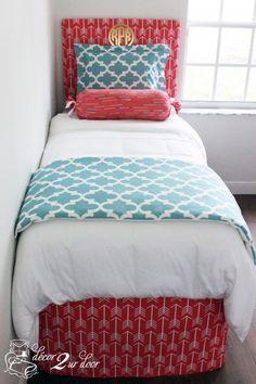 Coral and blue bedding set. Designer headboard, custom pillows, exclusive bed scarf, window panels, wall art, bed skirts, duvet (twin, queen, king) and custom monogramming!! Turn your room from drab to fab!!  http://www.decor-2-ur-door.com/designer-dorm-bed-in-a-bag-sets/blue-custom-bedding-sets-teen-girl-dorm-room-apartment-home-bed-in-a-bag/spirit-blue-bittersweet-arrow-teen-girl-dorm-room-custom-bedding-set?utm_&utm_content=bufferc9e66&utm_medium=social&utm_source=pinterest.com&utm_campaign=…