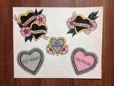 Mean Hearts tattoo flash page 1