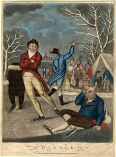 Winter : 1800. Ice skating was popular on the fens, using fen runners