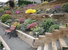 railroad tie retaining wall garden - Google Search