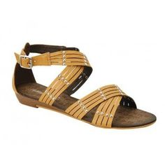 AMPLY-1 Women Ankle Strap Sandals - Camel
