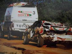 East African Safari Rally. Support trucks & helicopters (for some teams) e.g. Toyota