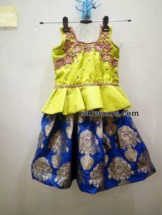Blue and Neon Green Lehenga - Indian Dresses Dresses Kids Girl, Baby Dresses, Kids Outfits, Girls, Traditional Dresses For Kids, Chudithar Neck Designs, Green Lehenga, Kids Lehenga, Kids Frocks