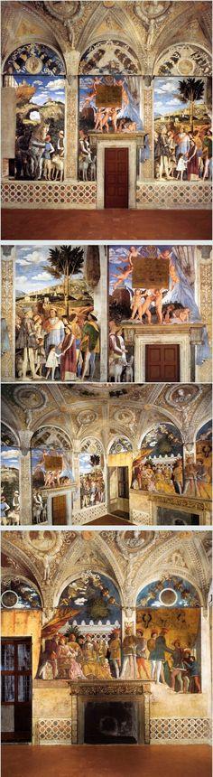 """Andrea Mantegna (1431-1506) - Le 4 Pareti della """"Camera degli sposi"""" - 1471-1474 - Affresco - Camera degli Sposi, Palazzo Ducale, Mantova"""