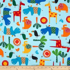 Animal Fabric for Sewing Crafting iNee Zoo Animals Fat Quarters Fabric Bundles 18x22 inches