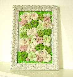 Fabric flower shabby frame wall art  3D design home by mapano, $64.00