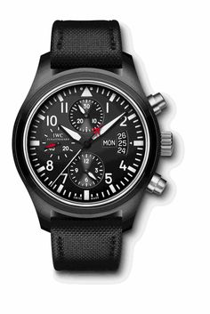 Ref.: IW378901  Pilots Watch Classic Chronograph  Top Gun Ceramic/ Tiranium Black  Numbers Black Flexible, Tang Buckle, Steel , S.E.