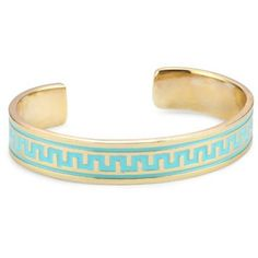 "Lisa Stewart ""Modern Myth"" 14k Gold-Plated Turquoise-Color Enamel Narrow Cuff-Bracelet - designer shoes, handbags, jewelry, watches, and fashion accessories 