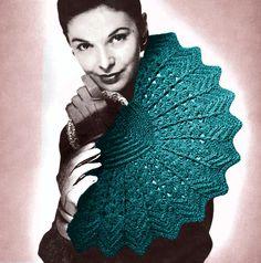 1940s Crochet Pinwheel Fan Handbag Clutch, vintage pattern