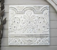 FRAMED Antique Ceiling Tin Tile. Circa 1910.  by DriveInService