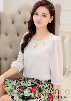 White Cut Work Neckline Chiffon Blouse with Pearl Drop