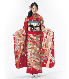 Miyu Yoshimoto (吉本実憂) modeling for Japanese kimono maker Suzunoya's (鈴乃屋) 2015 furisode collection 2.