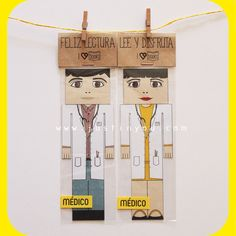 #Marcapaginas en #pareja personalizados para #profesiones de www.justinyou.com: #medico. Customizable and personalized #couple #bookmarks: #doctor or #gp.